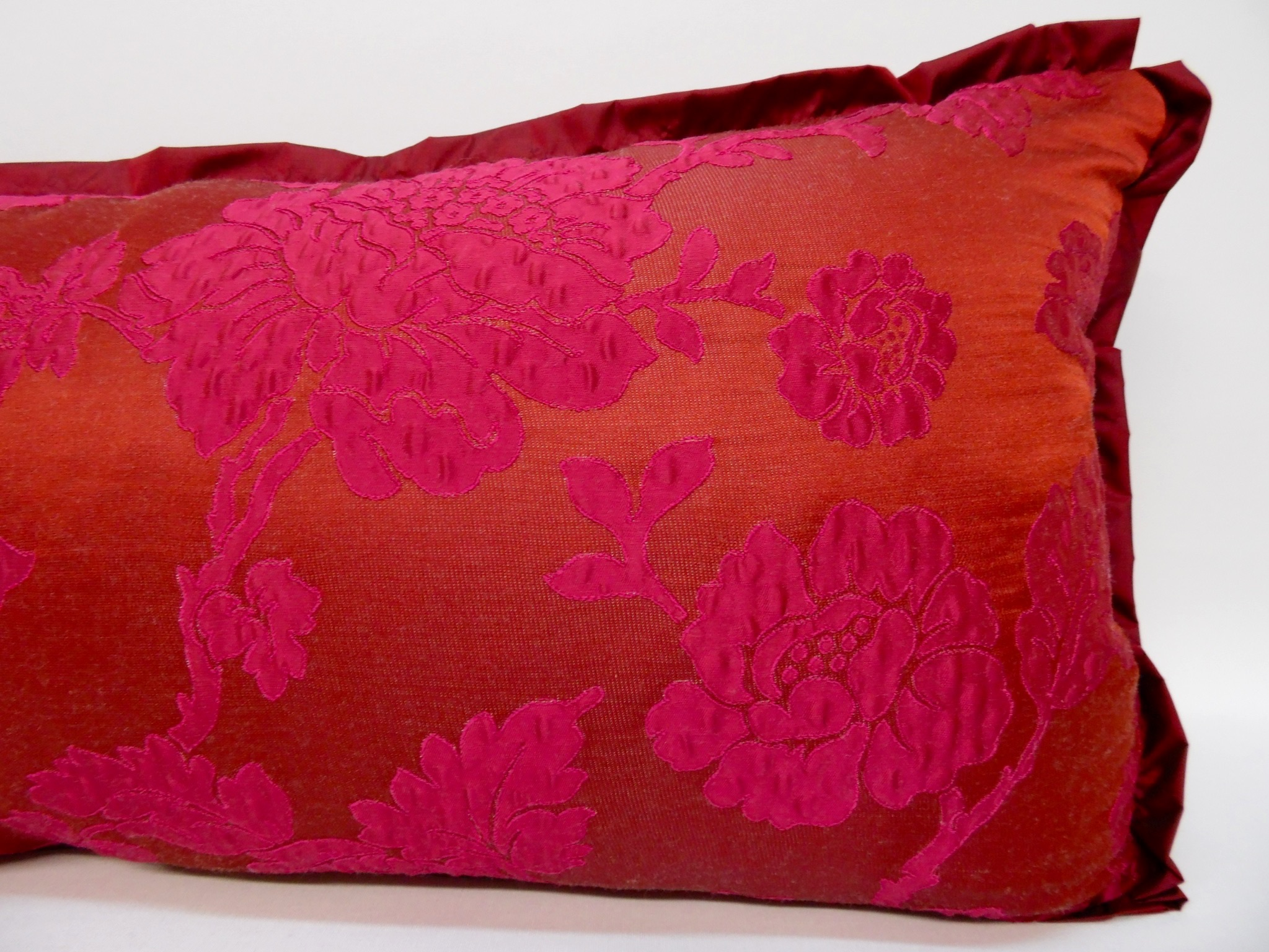 Edith Barrera Interiors ? Cranberry Floral Pillow ? Extra Long